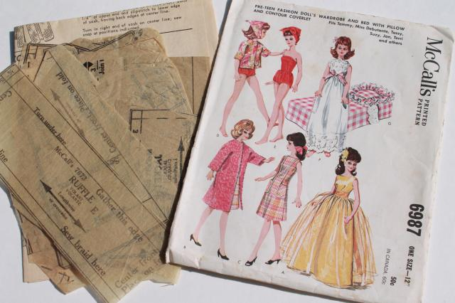 vintage doll clothes sewing patterns lot fashion dolls
