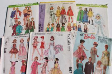 vintage doll clothes sewing patterns lot, fashion dolls Barbie & Ken wardrobe etc