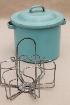 vintage doll size robin's egg blue enamelware canner pot or baby bottle boiler w/ wire rack