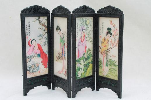 vintage dollhouse furniture - miniature oriental screen w/ Chinese silk  painting - Vintage Dollhouse Furniture - Miniature Oriental Screen W/ Chinese