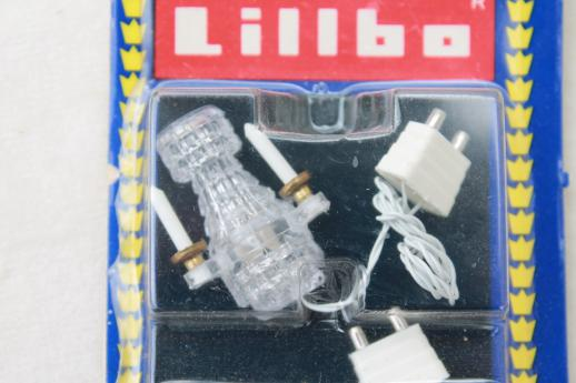 vintage dollhouse lighting, working electric miniature 'crystal sconces' Lillbo Sweden