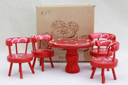 Vintage Dollhouse Miniatures Folk Art Hand Painted Wood Doll Table Chairs Set