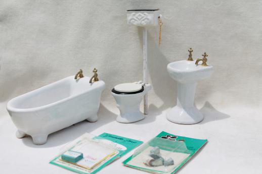 Vintage Dollhouse Miniatures, Real China Bathroom Fixtures U0026 Accessories Lot