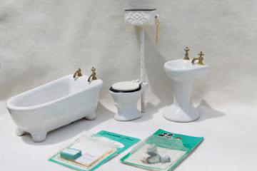 vintage dollhouse miniatures, real china bathroom fixtures & accessories lot