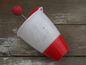 vintage donut dropper, red and white plastic doughnut maker kitchen utensil