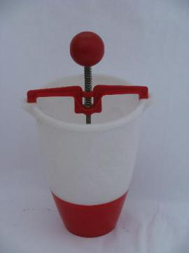vintage donut dropper, red & white plastic doughnut maker kitchen utensil