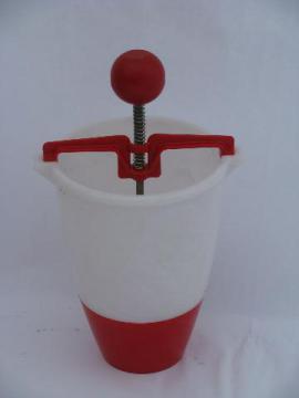 vintage donut dropper, red & white plastic doughnut maker kitchen utensil