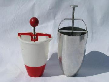 vintage donut droppers, lot doughnut makers, aluminum, red & white plastic