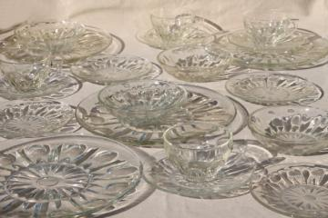 vintage dot and point pattern pressed glass dishes, plates, bowls, cups & saucers