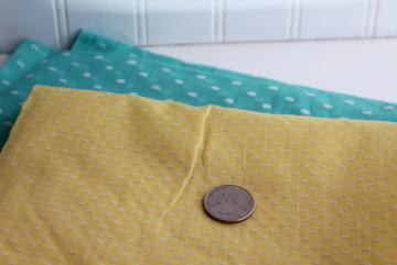vintage dotted swiss embroidered dot sheer cotton fabric, yellow, mint green