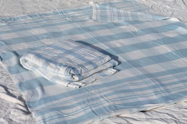 vintage double long fold over blankets, blue & white cotton / wool camp bunk blanket lot