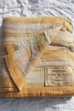 vintage double long fold over camp blanket w/ original Wearwell paper label