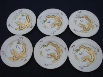 vintage dragonware porcelain, hand-painted gold dragons 6 china plates