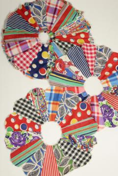 vintage dresden plate quilt blocks, cotton prints 1930s - 1950s hand sewn patchwork