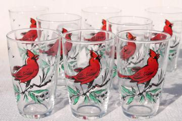 vintage drinking glasses, Christmas red cardinals bird print glass set of 8