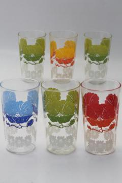 vintage drinking glasses w/ bright flowers, retro swanky swig tumblers