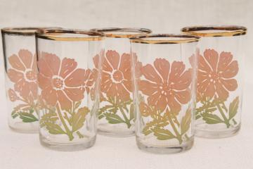 vintage drinking glasses, depression era kitchen glass swanky swigs w/ pink ombre flowers