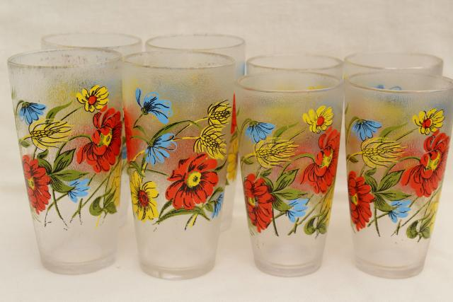 Vintage Drinking Glasses Set W Poppy Floral Print Ice