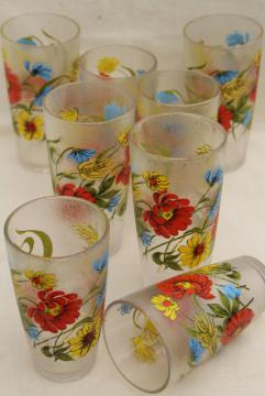vintage drinking glasses set w/ poppy floral print, ice texture unbreakable plastic tumblers
