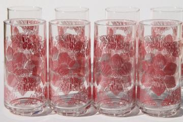 vintage drinking glasses, tall cooler iced tea tumblers w/ rose red flowers print