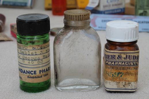 vintage drugstore medicine bottles & pill boxes, antique medicine cabinet pharmacy