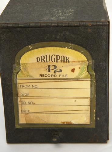vintage drugstore or pharmacy record card file with Drugpak label