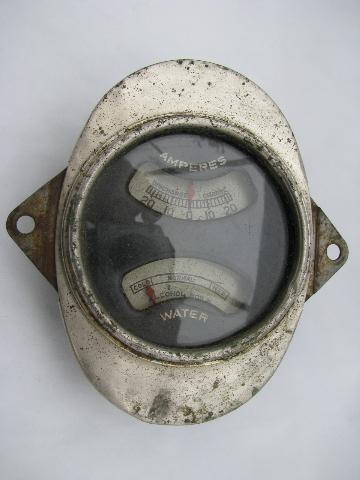 vintage early old AC GM / Chevy ammeter / temperature gauge