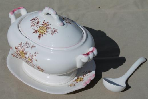 vintage earthenware tureen w/ plate & ladle, fall harvest transferware flowers