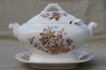 vintage earthenware tureen w/ plate & ladle, fall harvest transferware flowers