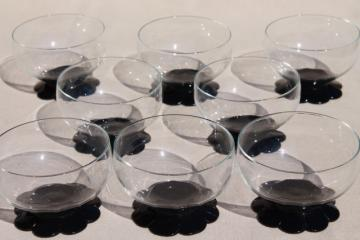 vintage ebony black / clear glass dessert dishes, Weston lilly pad water lily flower foot