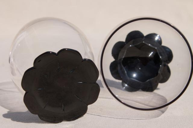 vintage ebony black / clear glass tumblers, Weston lilly pad water lily flower foot