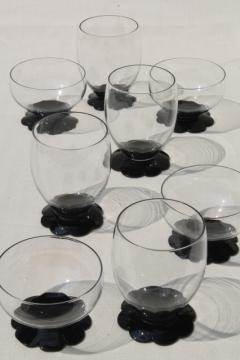 vintage ebony black / clear glass tumblers & sherbets, Weston lily pad waterlily flower foot