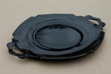 vintage ebony black glass tray / two-handled plate, Mt Pleasant depression glass