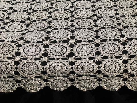 Vintage Ecru Cotton Lace Tablecloth Or Table Cover Runner Flower