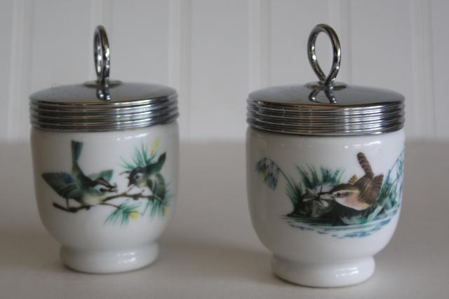 vintage egg cups, Royal Worcester china egg coddlers w/ birds pattern, finches & wren
