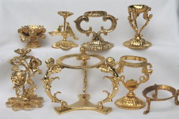vintage egg stands lot, ornate gold tone metal display holders for decorated eggs