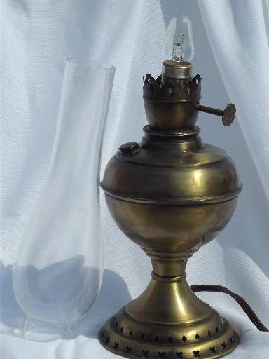 Vintage Electric Lamp Antique Oil Lamp Type W Glass Hurricane Chimney