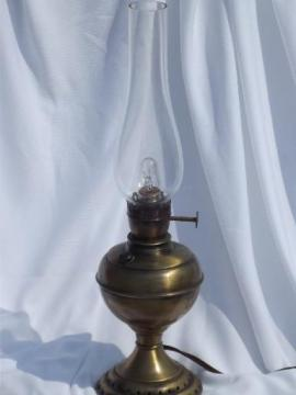 vintage electric lamp, antique oil lamp type w/ glass hurricane chimney