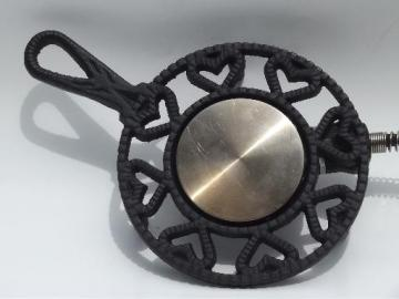 vintage electric warmer for buffet, old Williamsburg cast iron trivet