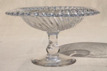 vintage elegant glass compote, crystal clear pedestal dish spiral flutes fluted swirl pattern