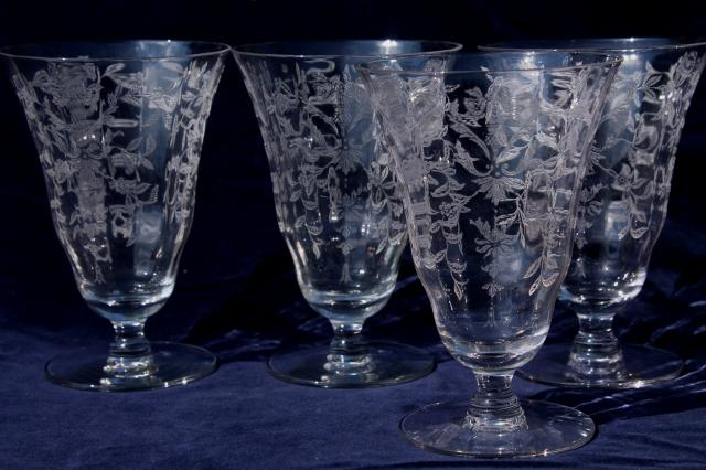 Vintage Elegant Glass Iced Tea Glasses Optic Pattern