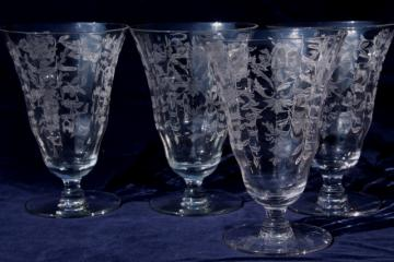 vintage elegant glass iced tea glasses, optic pattern footed tumblers w/ etched design