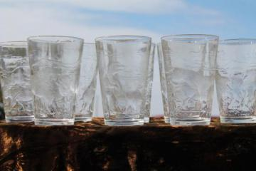 vintage embossed clear glass tumblers w/ buffalo, bears, animals of the Rockies scenic EAPG
