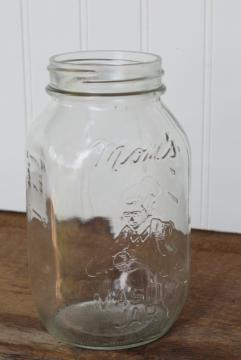 vintage embossed glass canning jar, Mom's Mason jar, old fruit jar w/ grandma lady