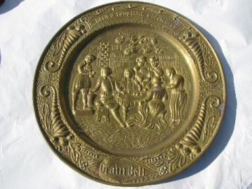 vintage embossed solid brass charger tray, old Grain Belt beer advertising