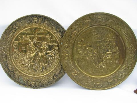 vintage embossed solid brass chargers, large plates or trays, Old English scenes
