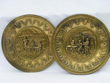 vintage embossed solid brass chargers, large plates or trays, Ye Olde English pub scenes