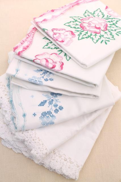 vintage embroidered cotton pillowcases w/ crochet lace, granny chic cottage bedding
