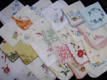 vintage embroidered fine cotton & linen hankies, Swiss handkerchiefs lot