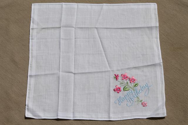 vintage embroidered hankies, Happy Birthday & Thank You gift handkerchiefs